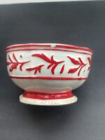 Fitz and Floyd Town And Country Red And White Pedestal Bowl