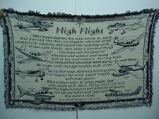 NIB Mill Street Design High Flight Navy Tapestry Throw Blanket Afghan #221