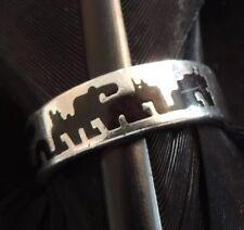 Telling Native Band Ring Size 6.75 Vintage Estate Sterling Silver Enamel Story