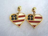 Patriotic USA Flag Red & White Enamel Blue Rhinestones Heart Dangle Earrings