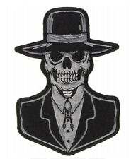 Preacher Skull Patch Embroidered Iron On Biker Skater Halloween Horror