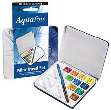 Daler Rowney Aquafine Watercolour Paint Mini Travel Set Tin - 10 Colours & Brush