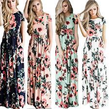 Women Vintage Floral Long Maxi Dress Holiday Summer Evening Party Beach Sundress