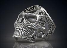 Handmade Masonic Freemason Skull .925 Sterling Biker Ring