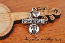 10s 22mm charm I LOVE BASEBALL pendant DIY Jewelry Bracelet Tibet Silver 7248