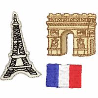 Iron On Motif Paris France Eiffel Tower Arc de Triomphe Flag  Stylish Patch