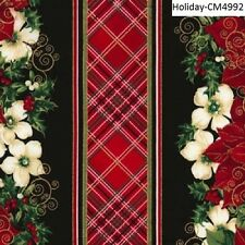 Christmas Poinsettias Flowers Stripe cotton quilt fabric Timeless Treasures BTY