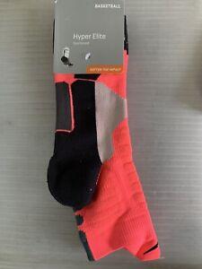 NIKE Hyper Elite High Quarter Basketball Socks PINK/BLACK -  LARGE ( Men 8-12 )