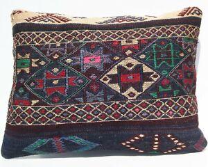 "24""x18"" Vintage kurdish kilim pillow cover seat pillow case rectangle hand woven"