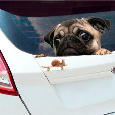 Funny 3D Pug Dog Watch Snail Car Window Decal   Cute Pet Puppy Laptop Sticker