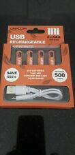 4 X USB RECHARGEABLE AAA MN2400 NI-MH BATTERIES INC TWIN MICRO USB CHARGER CABLE