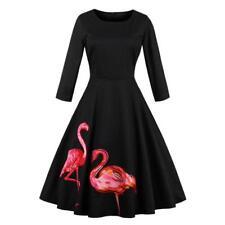AZULINA Retro 1950s Vintage Black Dress Women Flamingo Embroidered Pin Up Skater