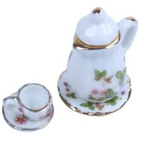 15Pcs 1/12 Dollhouse Miniature Tea Set Green Flowers Pattern Dish Cup Plate V7Z1