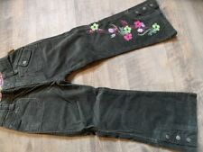 PAMPOLINA schöne Cord-Samthose khaki m. Stickereien Gr. 110 w. NEU ST817