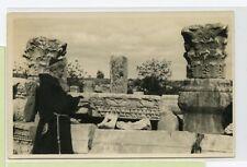 VINTAGE POSTCARD ~ RPPC ~ Capernaum Israel synagogue ~ Monk