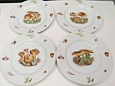 "4 Sigma Tastesetter Sigma MUSHROOM SCENES NL Carter 8"" Salad Lunch Plates"