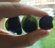 3 English Sea Glass Multis Red Blue Yellow Green Larger Pieces