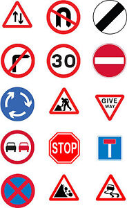 Driving Test Pass Road Signs Cake Toppers Pre Cut Rice Paper Icing 15 x 2 Inc
