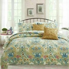 NEW! ~ COZY CHIC COTTAGE BLUE TEAL AQUA GREEN PINK YELLOW FLORAL SOFT QUILT SET