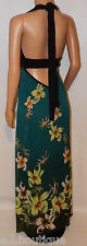 VICKY MARTIN black turquoise green blue floral backless maxi dress BNWT 12 14