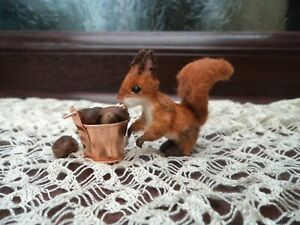 Adorable OOAK tiny miniature red squirrel teddy bear friend by Olfa 4 cm