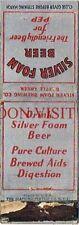 "1930s Silver Foam Beer ""For Pep"" Battle Creek Michigan Matchcover Tavern Trove"