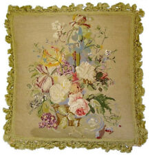 "21""x21"" Antique Looking Wool Needlepoint Petit Point Floral Pillow with Tassels"