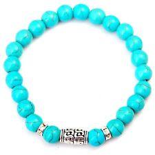 Men Fashion Blue Turquoise Bracelet Stone Silver Round Beaded Cuff Charm Bangle