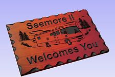 Personalized Custom Carved Wood RV Travel Trailer Camping Sign -  Rustic Plaque