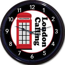 "London Red Phone Booth Wall Clock London Calling Britain London UK Big Ben 10"""