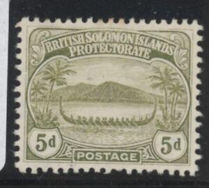 British Solomon Islands Edward VII 5d olive stamp (SG12) dated 1908 mint