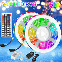 16.4 FT RGB 5050 Waterproof LED Strip Light SMD 44 Key Remote 12V DC Power Kit