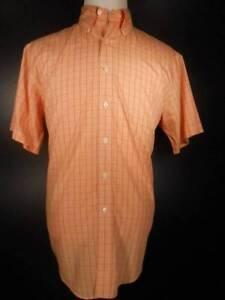 Beautiful Men's Medium Brooks Brothers 346 Orange Plaid SS Button-Down Shirt GUC