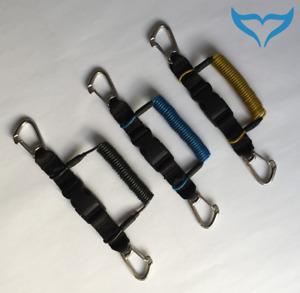 Spiralkabel Edelstahl-Karabiner Stahlsehne gelb blau schwarz Karabiner Qualität