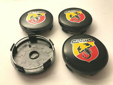4 x Abarth Fiat Red 60mm Wheel Centre Hub Caps Decal Center Caps Base ( Black )