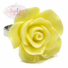24mm Large Vintage Carved Rose Adjustable Ring. Wedding Bridal Accessory Floral
