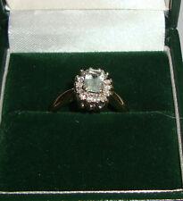 Oro 9 carati Taglio Smeraldo Acquamarina & Diamanti Anello Taglia L 1/4