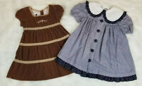 NY Bonnie Jean & Sprockets (Lot of 2) Dresses Girls Size 5T Brown - Blue Gingham