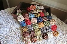 Mini Quilt or table topper made from Yo Yos in Civil war  reproduction fabric
