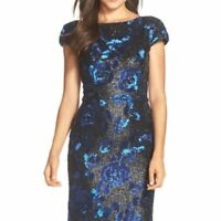 VERA WANG size 6 black sequin sheath dress