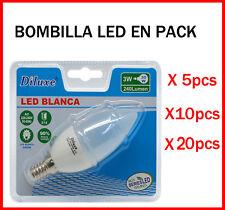 BOMBILLA DE VELA LED 3W CASQUILLO PEQUEÑO E14 LUZ BLANCA 6400K PACK DESDE 5 UDS