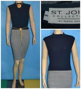 ST JOHN Collection Knits Navy Dress M 6 8 Sleeveless Sheath Houndstooth