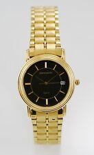Pierre Cardin Watch Mens Black Stainless Steel Gold Water Resistant Date Quartz