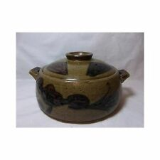 Vtg Hand Thrown Pottery LIDDED CASSEROLE DISH Flower Design bean pot earthen