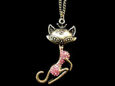 Cat Crystal Alloy Costume Necklaces & Pendants