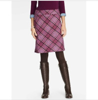 $99 Womens Talbots A-Line Skirt Plaid Purple Wool Blend Work Career Pink Knee