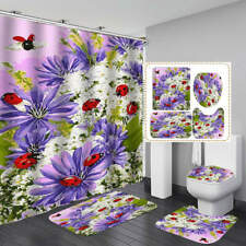 Ladybug Purple Flower Shower Curtain BathMat Toilet Cover Rug Bathroom Decor