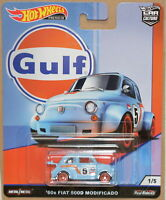 HOTWHEELS CAR CULTURE GULF  1960 FIAT 500D  ALLOYS & REAL RUBBER TYRES.`