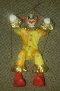 """Vintage Paper Mache Papier Mâché Clown Trapeze Swing Hanging 10"""" Mid Century"""