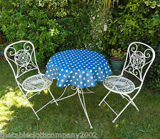 100cm ROUND PVC/VINYL OILCLOTH BISTRO TABLECLOTH - BLUE WITH WHITE POLKA DOT